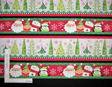 Christmas Santa Snowman Stripe Cotton Fabric QT 23813-RG Holly Jollies - Yard