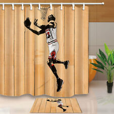 Athletes Playing Basketball Bathroom Shower Curtain Set Fabric 12 Hook 71 Inch