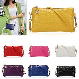 N81Women Crocodile Pattern Handbag Purse Crossbody Messenger Shoulder Bag Large