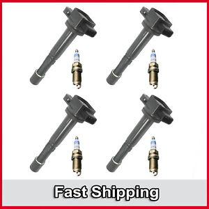UF311 4 Ignition Coil & 4 Bosch Platinum Spark Plug 8PCS For Honda Accord Civic