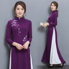 Chiffon 2 Layers Chinese Traditional Style Long Dress Cheongsam Qipao Vintage