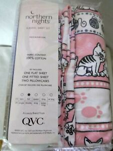 Northern Nights Soft 100% Cotton Flannel Sheet Set, Kitty Cats, Standard Sz, NEW