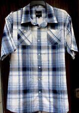 Men's akademiks 3XL Button down short sleeve blue and white plaid shirt