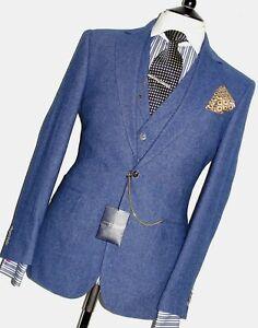 MENS GIVES & HAWKES BESPOKE CUSTOM MAKE 3 PIECE ROYAL BLUE TWEED  SUIT40R W34