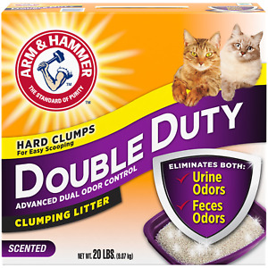 Arm & Hammer Double Duty Clumping Cat Litter, 20lb Box, Fresh Scent Refreshes