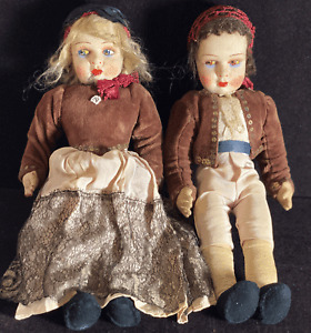 Pair Antique French Hand Made Cloth Dolls  VV746