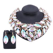 Women AB Crystal Chunky Statement Bib Choker Pendant Necklace Earring Sets