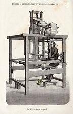 INDUSTRIE ETOFFE METIER JACQUARD IMAGE 1875 INDUSTRY FABRIC WORKSHOP OLD PRINT