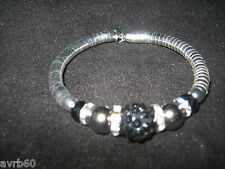 womens bracelet bangle silver colour with beads and diamantes