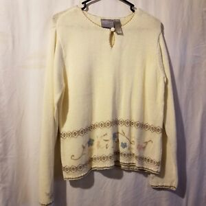 First Issue Womens Sweater Sz M Ivory Pink Floral Keyhole Pullover Long Sleeves
