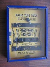 vtg dexterity toy game puzzle gilbert radio tube trick tin & glass superclean
