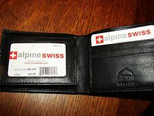 ALPINE SWISS DOUBLE-ID BI-FOLD WALLET W/REMOVABLE CARD CASE BLACK LAMBSKIN NEW