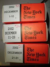 December 2002 New York Times on MICROFILM - 3 reels of film
