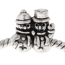 Snowmen Snowman Christmas Holiday Spacer Bead for Silver European Charm Bracelet