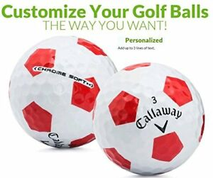 Custom Printed Text or Logo Callaway Chrome Soft Truvis Red Golf Balls 1 Dozen