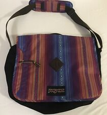 "JanSport messenger bag school vivid purple acapulco stripe laptop bag 12"" x 15"""