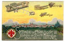 POSTCARD ITALIAN 1910 AVIATION AIR SHOW SPECTACLE FIRENZE