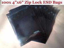 "4x6"" 100 Pieces 3Mil ESD Anti Static Zip Lock Bag Hard Drive Faraday Cage NEW"