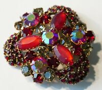 Vintage Prong Set, Ruby Red, Matte Red, AB Rhinestone Brooch Pin