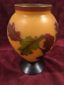 Vintage 1990s SmallTiny BlueGoldPurple Luster Vase 1996 Flare Top Retro Decor Hand Blown