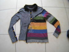 Pull T Shirt LULU H col polo gris noir 1 côté rayé mulitcolore bas côtes T 38/40