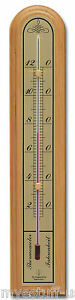 Hokco Analog Wall Thermometer Oak Wood Brass Fahrenheit Scale 10 inch tall
