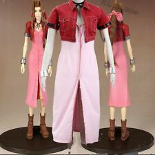New Costume Final Fantasy VII Aerith Cosplay Costume Dress Headwear Accessories