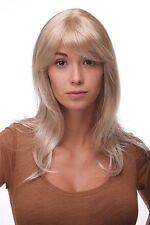 Perruque pour Femmes Longue avec Mêches Blondes Frange Raie Facile à Coiffer