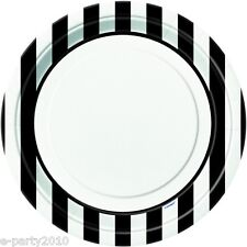 BLACK STRIPES LARGE PAPER PLATES (8) ~ Birthday Party Supplies Dinner Luncheon