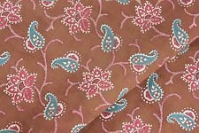 Chintz Antique French Fabric cotton brown blue & red material c 1900 unused