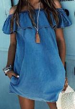 BOHO Jeans Off shoulder Volant Tunika Minikleid Strand Urlaub Ibiza Gr M NEU
