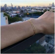 Dainty Beads Bracelet 14K Gold Plated Bar Circle Freshwater  (DoubleBeads-Gold)