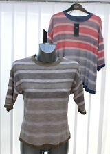 Ladies M&S Collection Sizes 6 10 18 20 Linen-Look Striped Short Sleeve Top