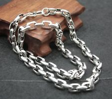 Pure S925 Sterling Silver 8mm W Large Square Link Chain Necklace/ 68.5g /21.65''