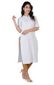 Women Kurta Kurti Indian Designer Dress Ethnic White Top Tunic Bollywood Dress