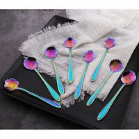 Stainless Steel Cutlery Rainbow Flower Colourful Iridescent Spoon  UK