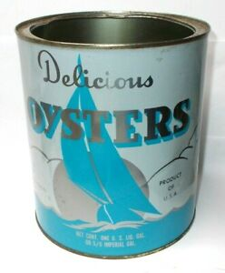 Vintage Delicious Oysters 1 Gallon Can, Colonial Beach VA.