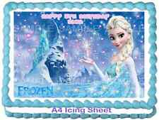 A4 EDIBLE DISNEY FROZEN ELSA ICE CASTLE ICING PERSONALISED BIRTHDAY CAKE TOPPERS