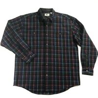 REI Vintage Mens Large Wool Windowpane Plaid Flannel Long Sleeve Button Shirt