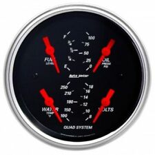 "Auto Meter 1412 3-3/8"" Designer Black Quad Gauge, Fuel/Water/Oil/Volts"