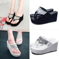 Summer Womens Clip Toe High Heels Flip Flop Platform Sandals Wedge Slip On Shoes