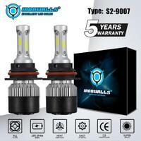 Pair 9007 HB5 COB LED Headlight Kit HI-LO Dual Beam Bulbs 6000K 1500W 225000LM