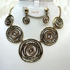 Retro Bronze Gold Necklace and Earring Custom with Stones Jewellery Set