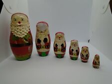 6 Vintage Russian Style Wood Santa Christmas Nesting Dolls Hand Painted