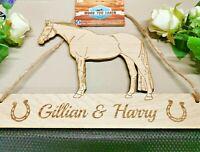 Warmblood Horse Rosette Hanger Oak Veneer Fabric Mesh Ride Holder