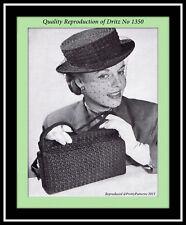CROCHET Boater HAT with Veil BAG Purse Vintage DRITZ Belastraw MO Pattern 1350