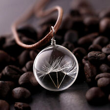 Hot Crystal Glass Ball Dandelion Necklace Strip Long Leather Chain Pendant Gift