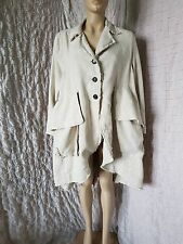 Barbara Speer 100% linen asymmetric beige coat  with ripped seams size 2