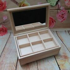 Large Unpainted Wooden MakeUp Jewellery Jewlery Box Keepsake Chest with mirror