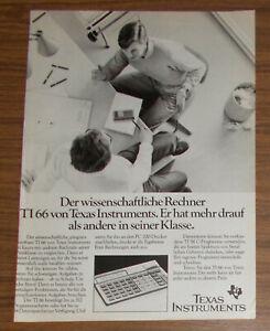 Seltene Werbung TEXAS INSTRUMENTS TI 66 Taschenrechner Calculator 1984